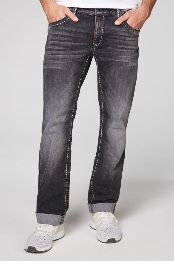Jeans CO:NO im Vintage Look mit farbigen Nähten anthra vintage