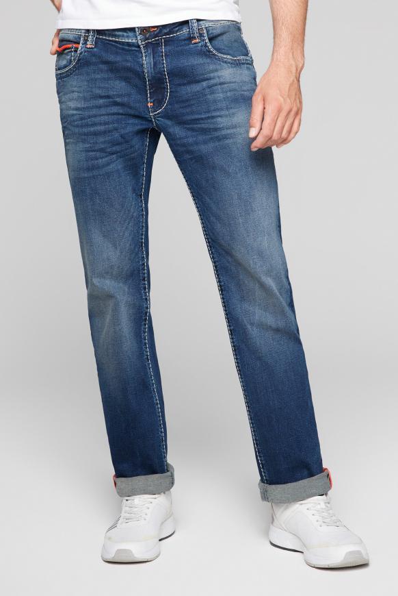 Jeans CO:NO mit Bleaching-Effekten dark blue used