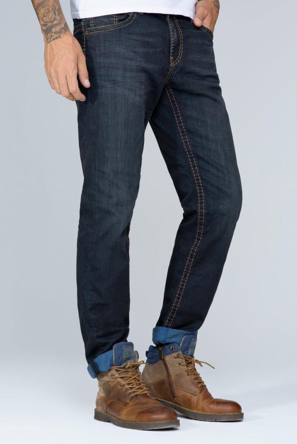 Jeans CO:NO mit breiten Nähten und gefärbter Innenseite blue black vintage