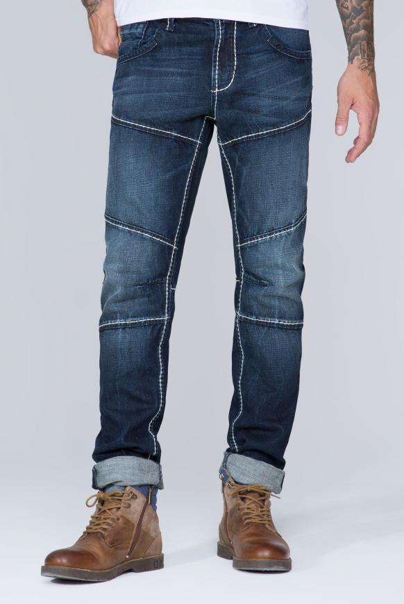 Jeans HE:RY mit Used-Optik und Biker-Elementen dark blue vintage