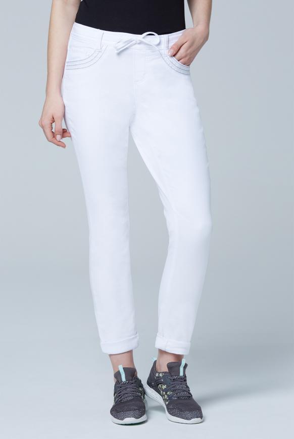 Jeans JO:SY Boyfriend Fit aus Sweatmaterial white