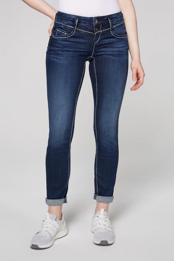 Jeans KA:RA mit breiten Kontrastnähten dark blue