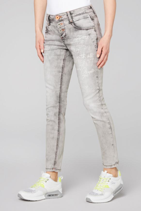 Jeans MI:RA Acid Washed mit Prints grey used