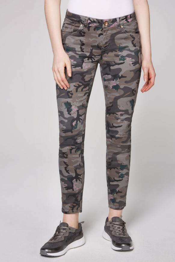Jeans MI:RA mit All Over Print grey camouflage