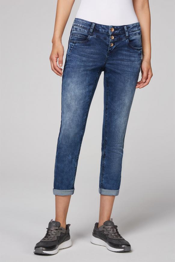 Jeans MI:RA mit Knopfleiste und Tape ocean blue used