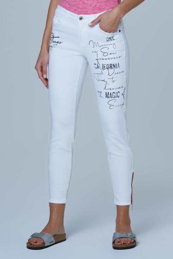Jeans MI:RA mit Label Prints white