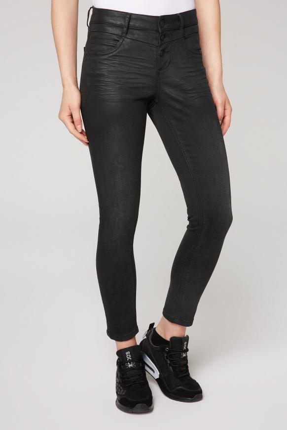 Jeans MI:RA mit Teil-Beschichtung black coated