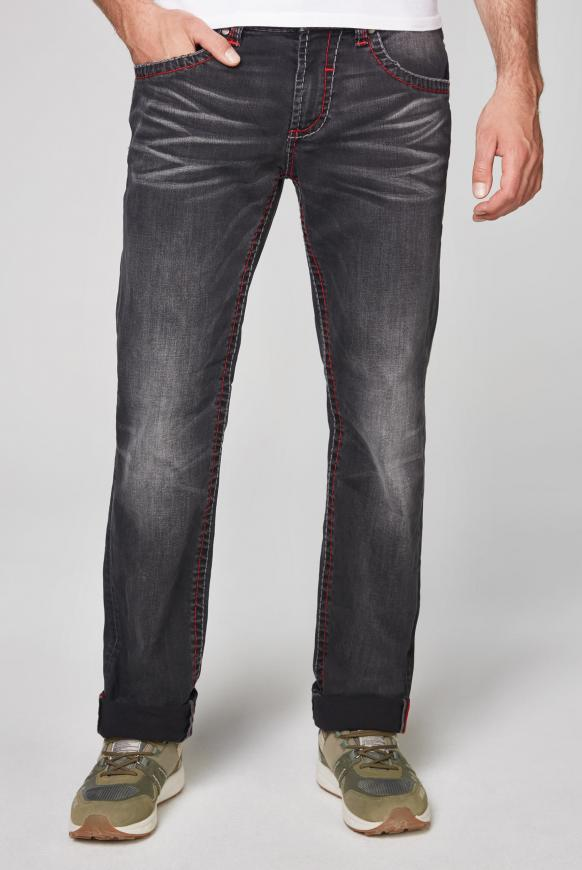Jeans NI:CO mit Used-Optik und Kontrastnähten dark grey used