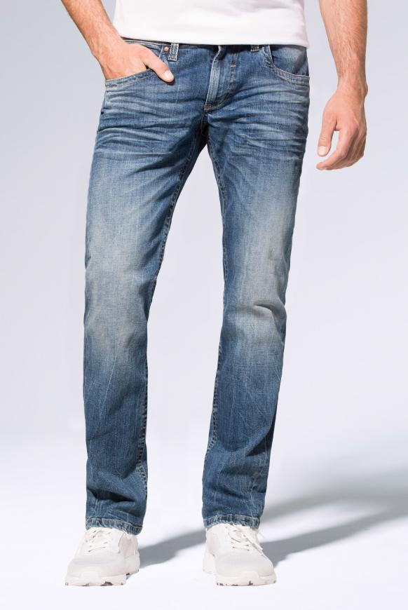 Jeans NI:CO mit Used-Optik und leichtem Boot Cut medium blue used