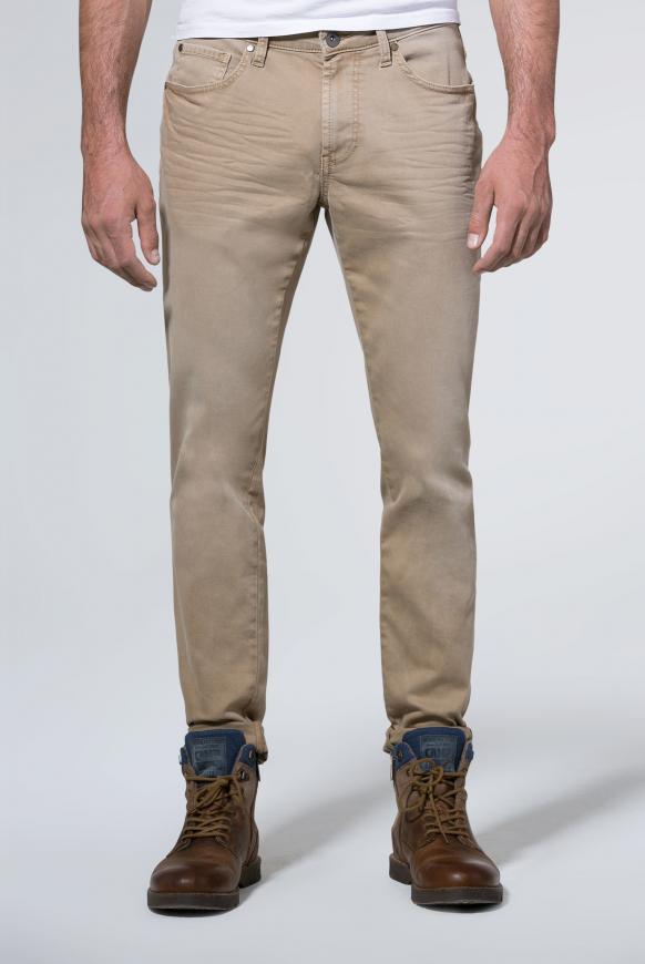 Jeans NI:LS mit schmalem Bein und Used-Waschung sand