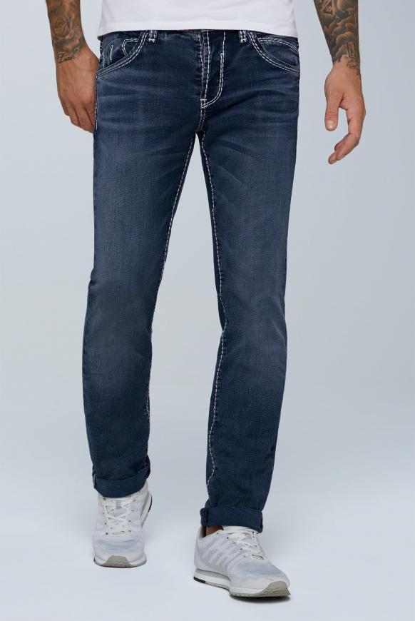 Jeans RO:BI mit Knopfverschluss und Used Look dark blue