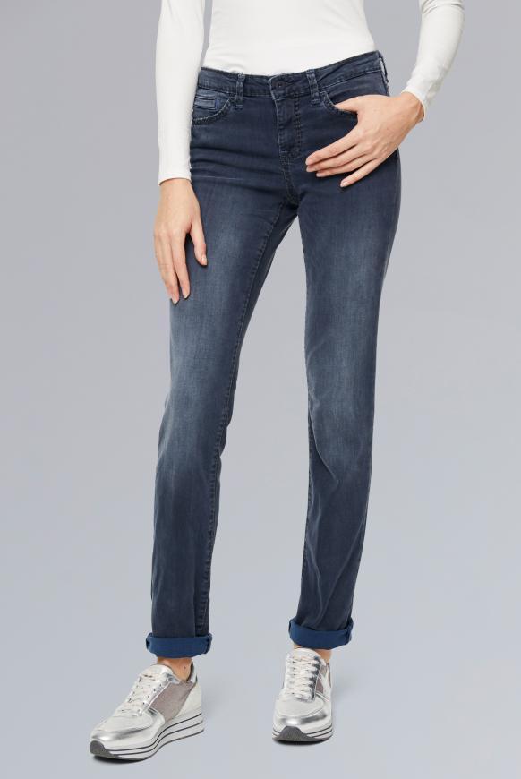 Jeans RO:MY mit breiten Nähten und gefärbter Innenseite grey blue used