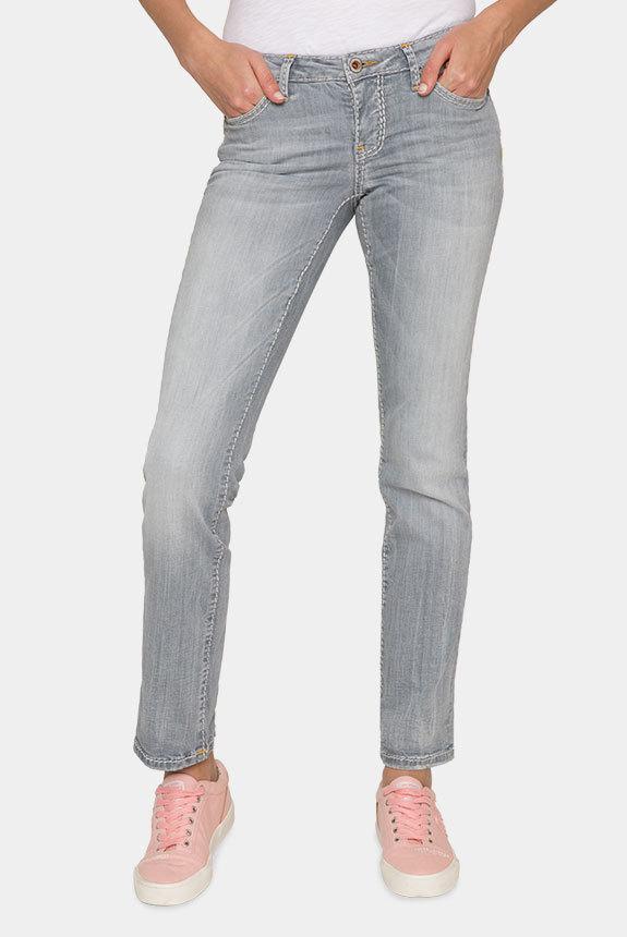 Jeans RO:MY mit breiten Steppnähten medium grey used