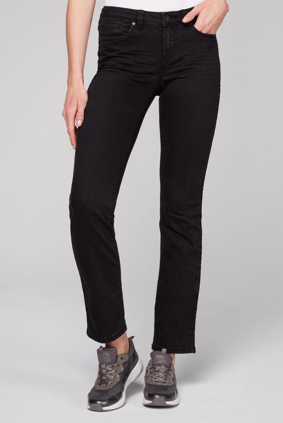 Jeans RO:MY mit Samttape an den Seiten dark grey velvet