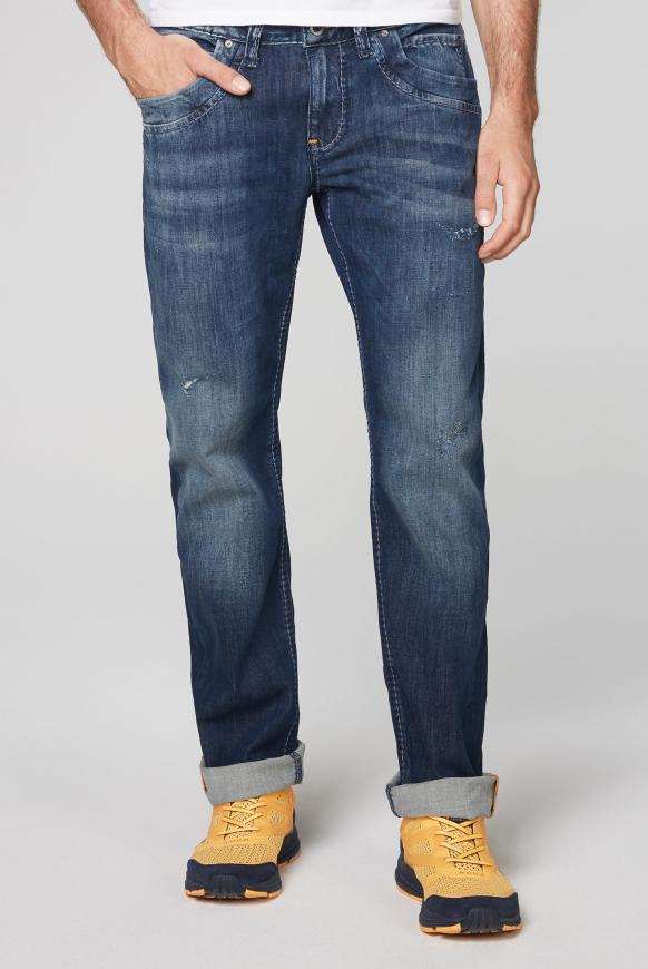 Jeans RU:SL Regular Fit mit Destroy-Effekten blue