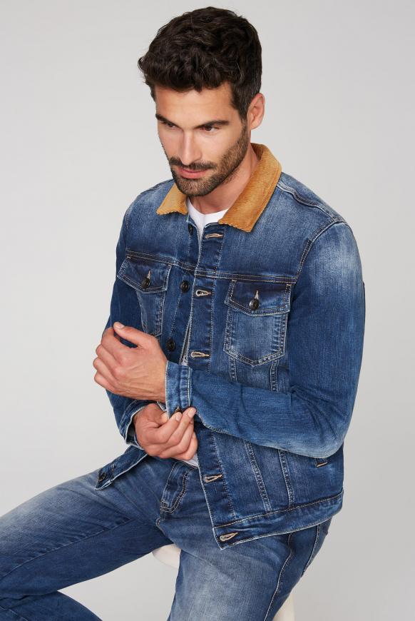 Jeansjacke mit einem Kragen aus Cord dark blue used