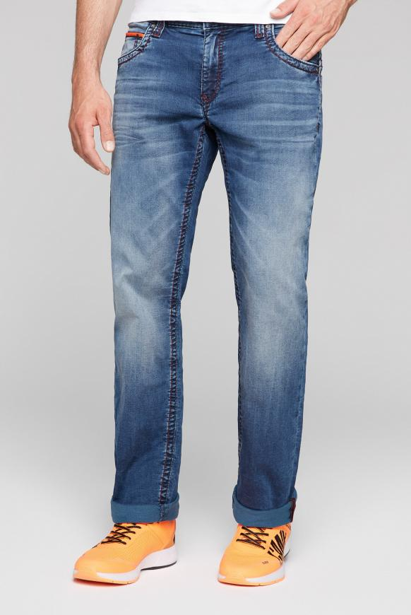 Jogg-Denim CO:NO mit Used-Waschung real blue jogg
