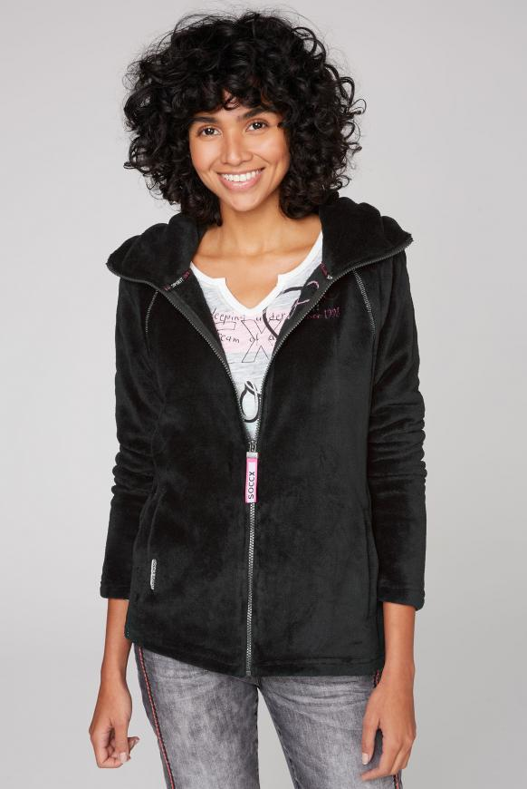Kapuzenjacke aus Sherpa-Fleece black