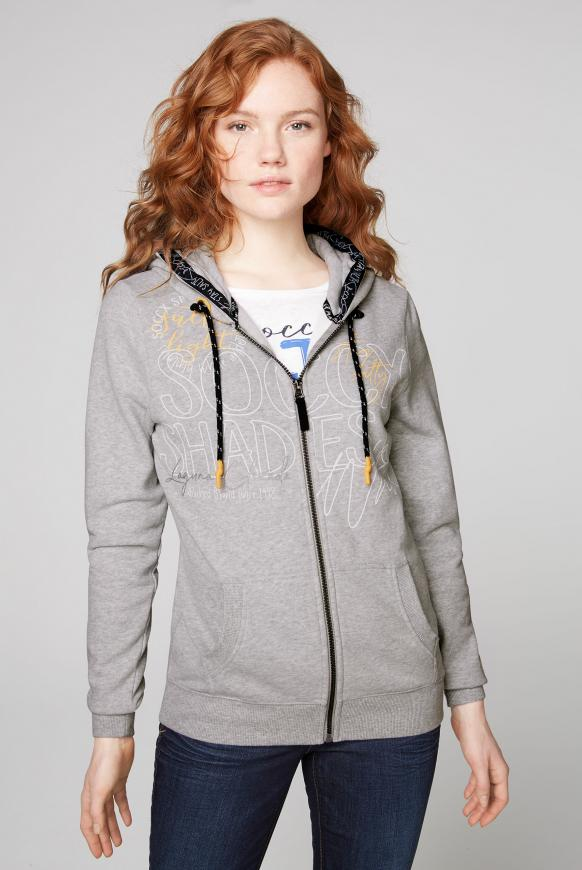 Kapuzenjacke mit Wording Prints grey melange