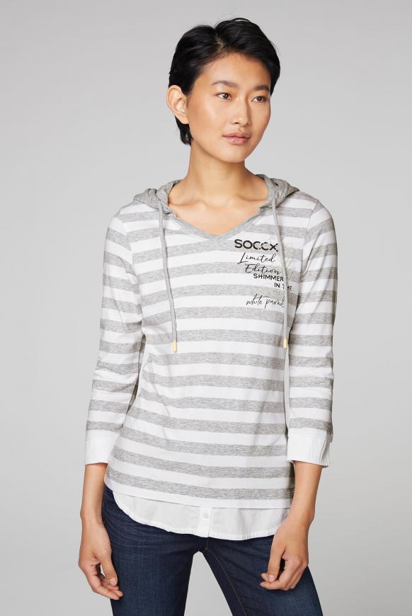 Kapuzenshirt mit Blusen-Layering grey melange