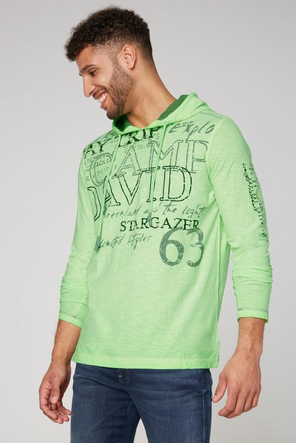 Kapuzenshirt Oil Dyed mit vielen Used Prints signal green