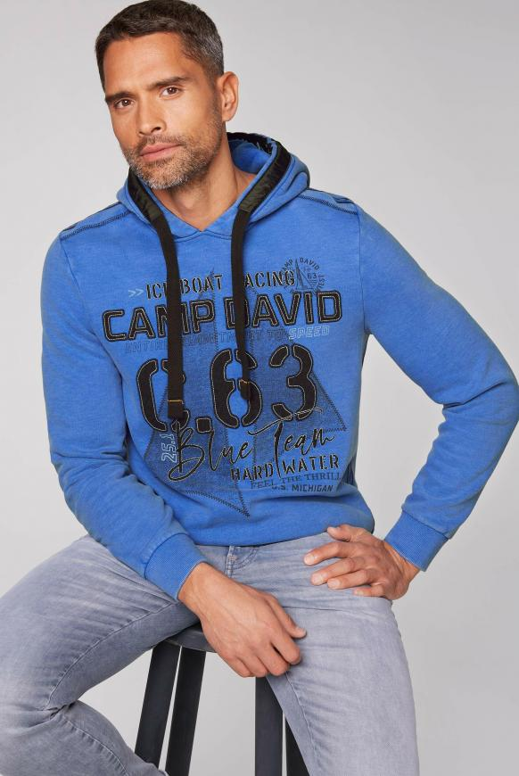 Kapuzensweater mit Label-Applikationen coastal blue