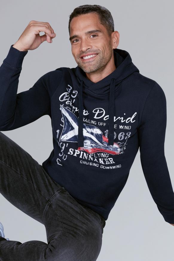 Kapuzensweater mit Sailing Print blue navy