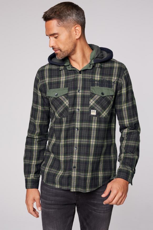 Kariertes Flanellhemd mit Sweatkapuze pine