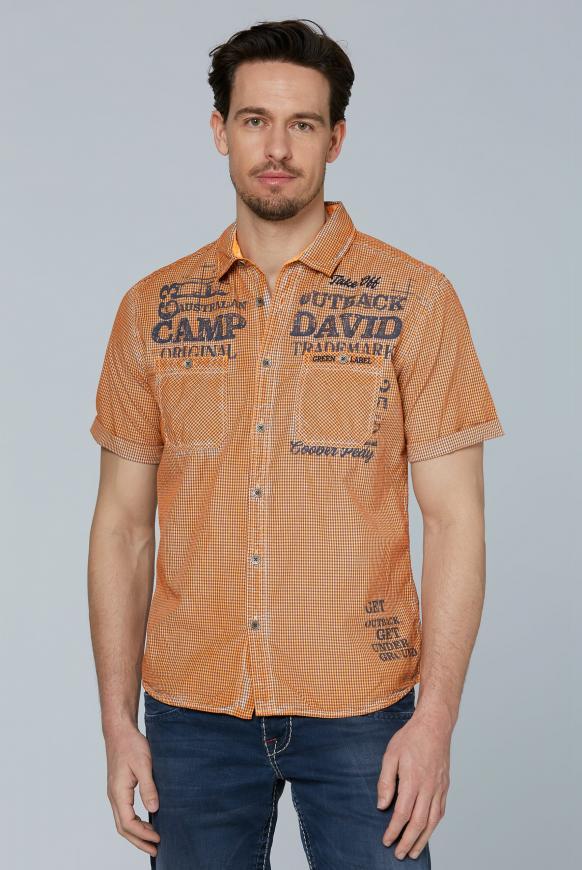 Karohemd mit Used-Färbung und Taschen desert orange