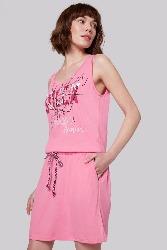 Kleid mit Artwork und Taillengummizug lush rose