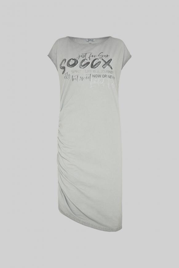 Kleid mit seitlicher Raffung und Logo Print cloudy grey