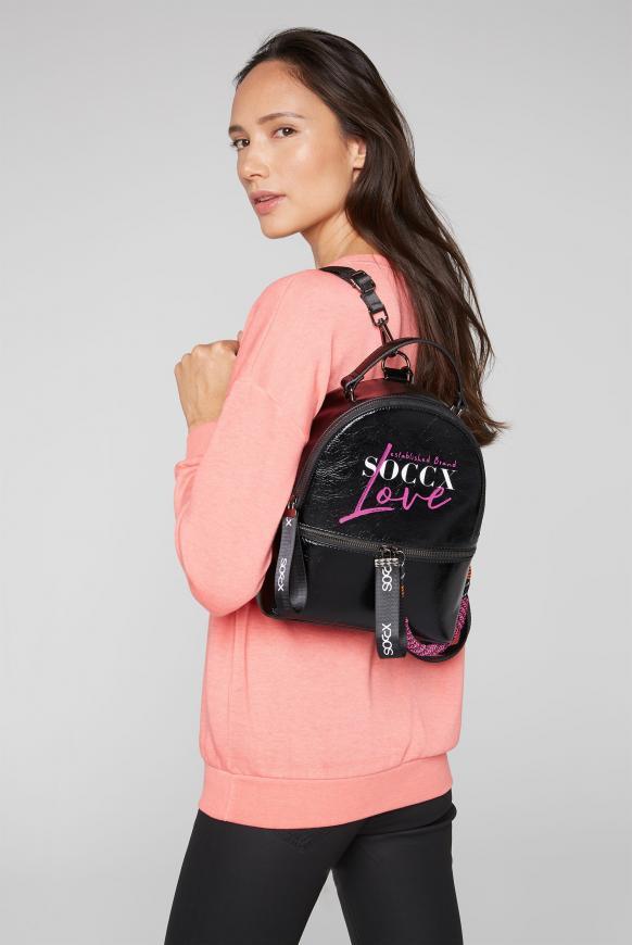 Kleiner Rucksack mit Logo Print und Kordel black