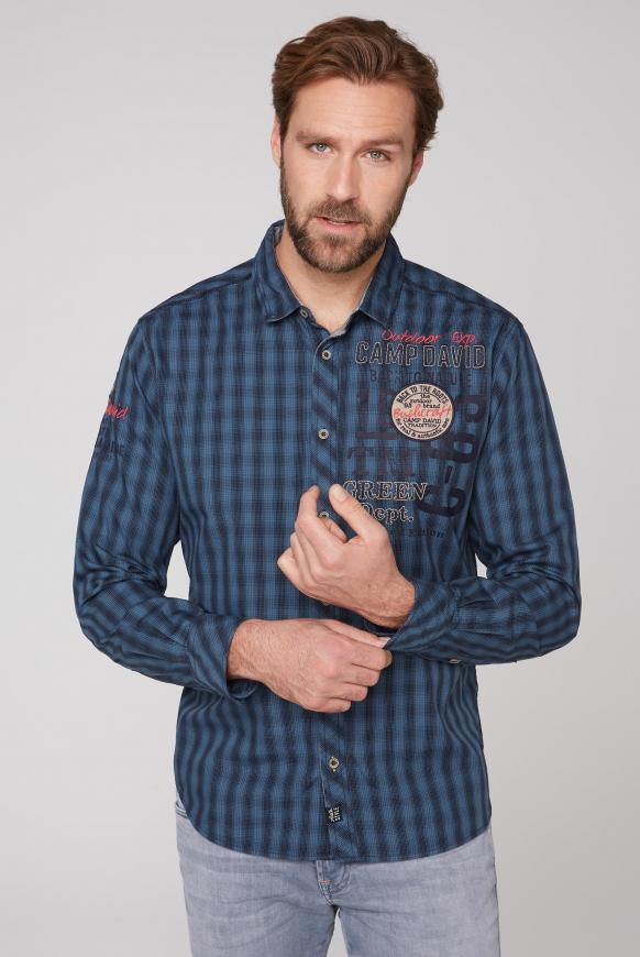 Kleinkariertes Langarmhemd mit Artworks blue grey