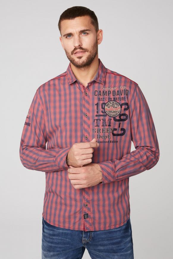 Kleinkariertes Langarmhemd mit Artworks redwood