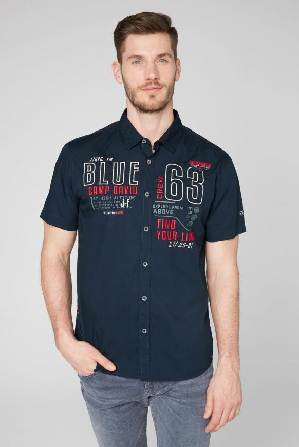 Kurzärmliges Hemd mit Label-Applikationen blue navy
