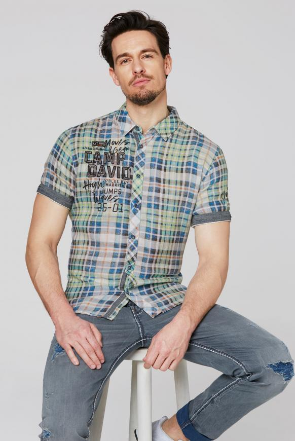 Kurzärmliges Leinenhemd mit Karo Print kiwi green