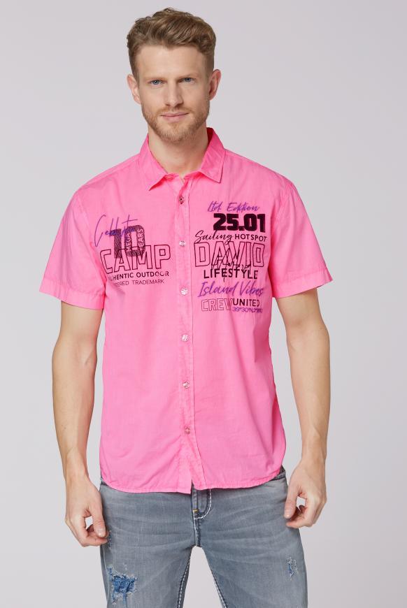 Kurzarmhemd mit Artworks neon pink