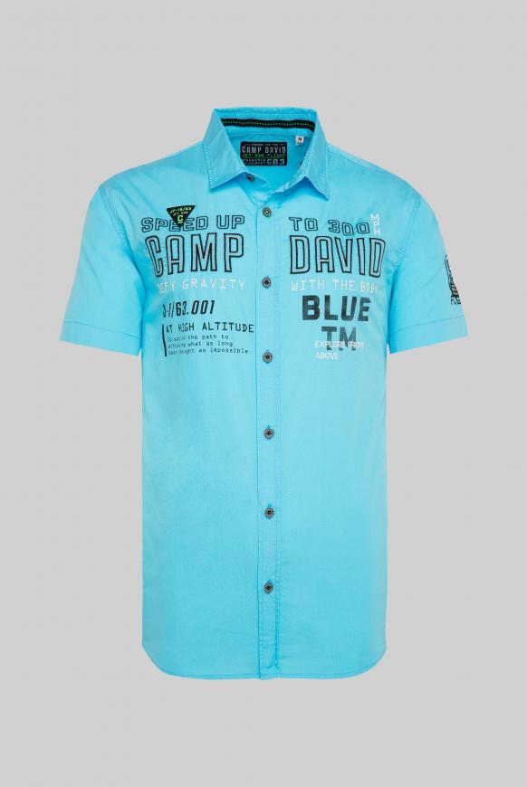 Kurzarmhemd mit Logo Artworks diving blue