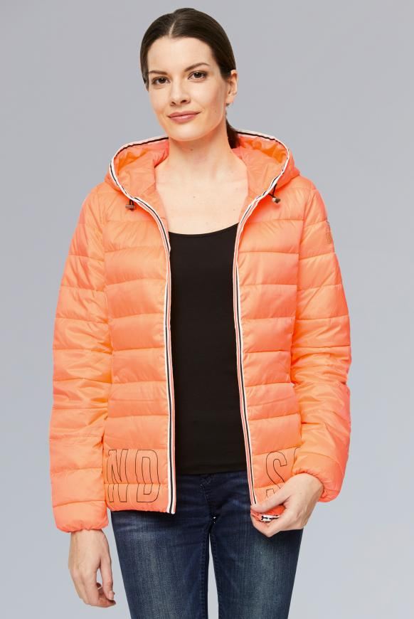 Kurze Steppjacke mit Kapuze und Tape intense orange