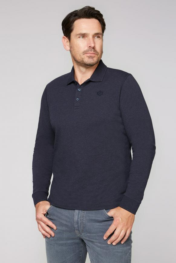 Langärmliges Poloshirt Melange absolute blue
