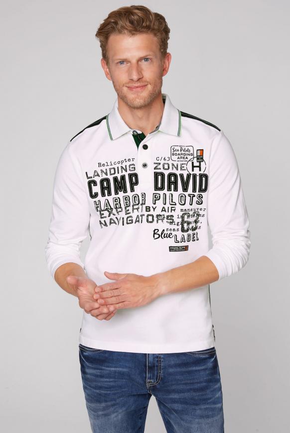 Langärmliges Poloshirt mit Logo-Applikationen pale white