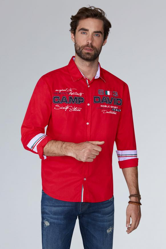 Langarmhemd mit Artworks, Regular Fit racing red