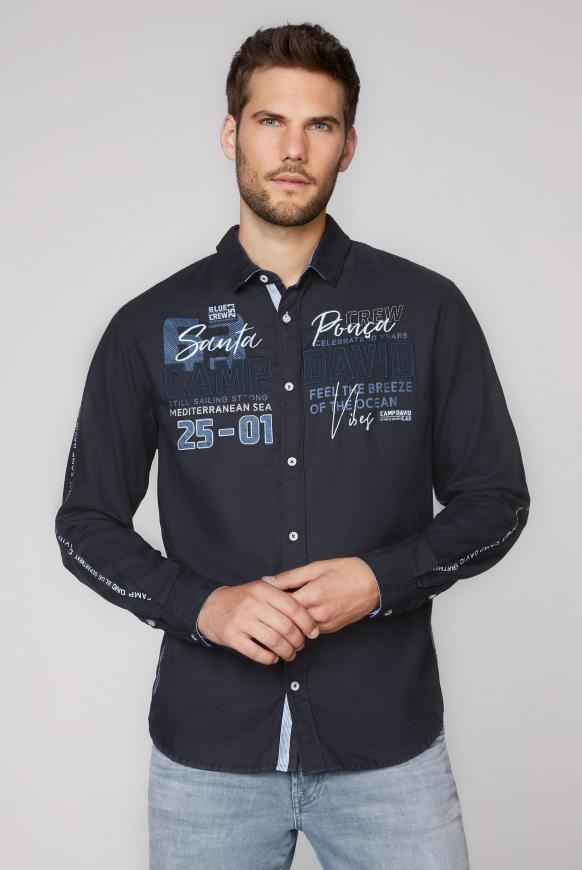 Langarmhemd mit Label-Applikationen blue navy