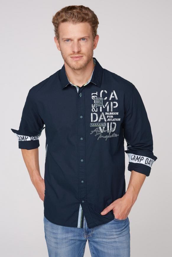 Langarmhemd mit Rücken-Artwork blue navy