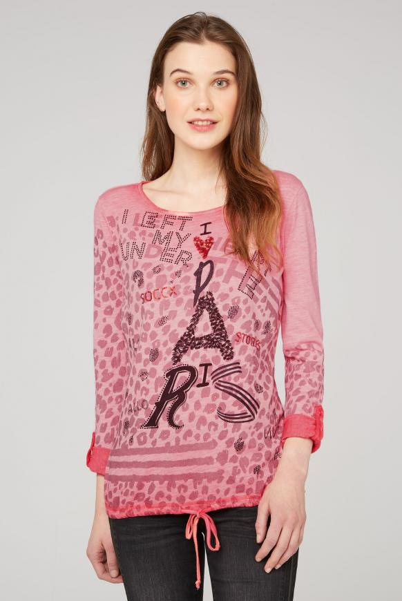 Langarmshirt mit All Over Print pure coral