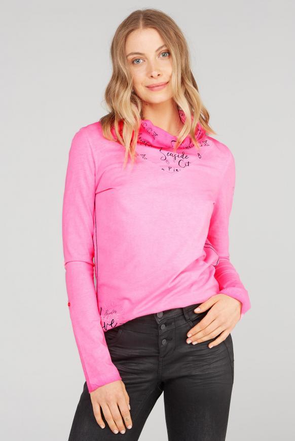 Langarmshirt mit hohem Logo-Kragen knockout pink