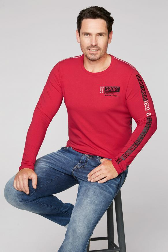 Langarmshirt mit Logo-Applikationen bright red