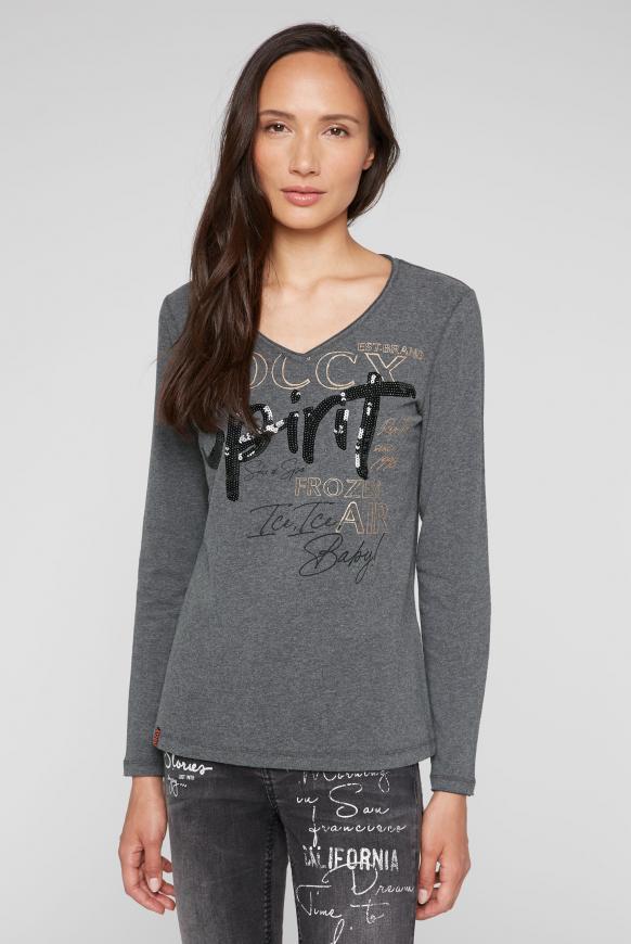 Langarmshirt mit Pailletten-Logo-Artwork anthra melange