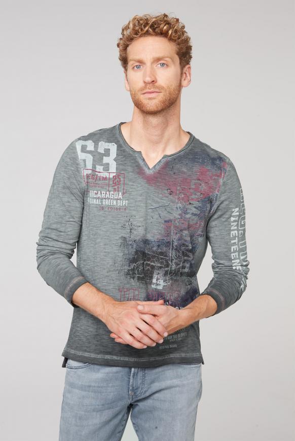 Langarmshirt mit Used-Färbung und Prints black