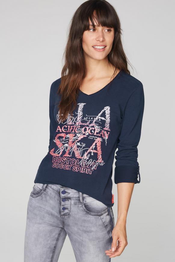 Langarmshirt mit Used-Kanten und Glitter Print blue navy